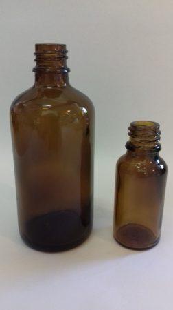Gyógyszeres üveg DIN 18,  30 ml (104 db/tálca) TÁLCÁS