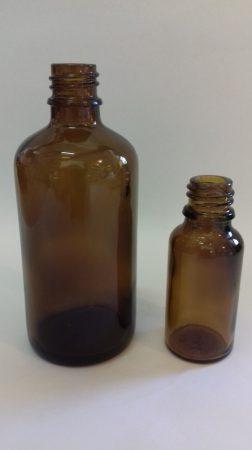 Gyógyszeres üveg DIN 18,  50 ml (105 db/tálca) TÁLCÁS