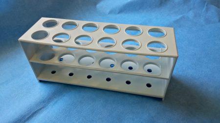 Kémcsőállvány, műanyag, 20 mm/12 férőhely